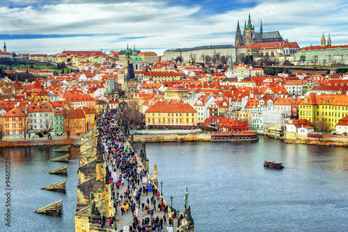 Printed kitchen splashbacks Prague Panorama of Prague with the Castle, Charles Bridge, Vltava river