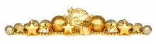 Christmas Border Of Gold Ornaments, Presents And Beads Isolated On A White Background