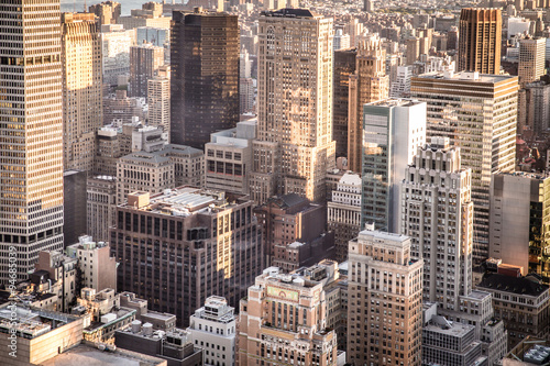 New York City overhead view of buildings across midtown Manhattan