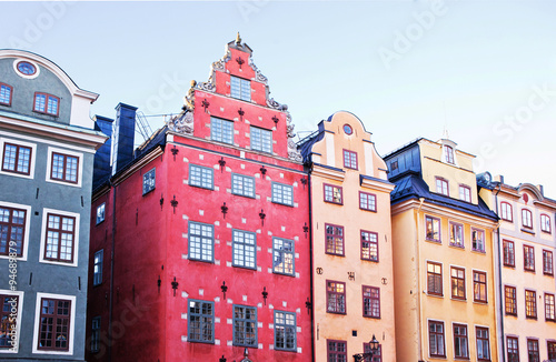 Photo  The famous buildings in the central square of Gamla Stan, Stockholm
