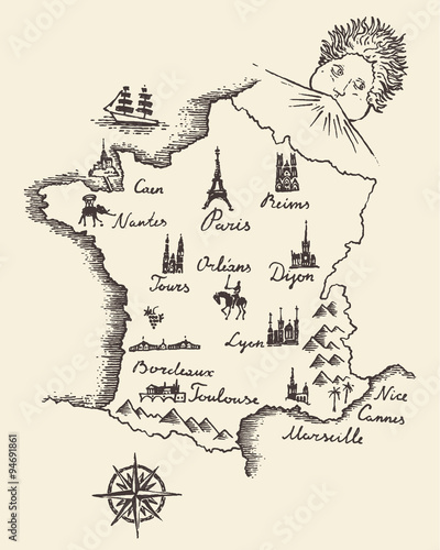 Photo Map of France vintage engraved illustration sketch