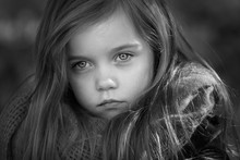 Black And White Portrait Of A Beautiful Young Girl Taken Outside