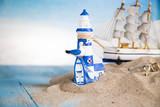 Fototapeta Tęcza - Holiday by the sea, gull, lantern, ship