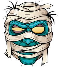 Vector Illustration Of Cartoon Mummy Face