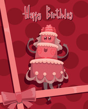 Vector Card Happy Birthday Cake,  Pink. Card With Cartoon Image Of A Pink Cake Rejoicing On A Pink Background With Polka Dots, Tied With A Pink Bow.