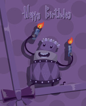 Vector Card Happy Birthday Cake, Purple. Card With Cartoon Image Of A Purple Cake Rejoicing On A Purple Background With Polka Dots, Tied With A Purple Bow.