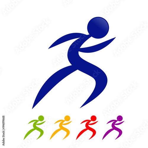 Fotografie, Obraz  Multi Colored Dynamic Speed Runner Symbol