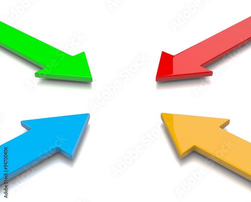 Convergent Colorful Arrows Canvas Print