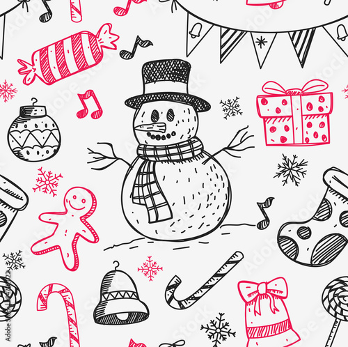 Cotton fabric sketchy style Christmas background