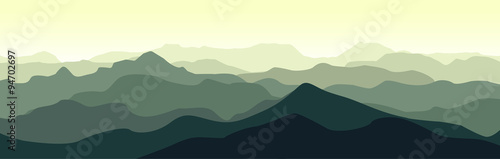 Stickers pour porte Kaki Green mountain landscape in the summer morning. Horizontal vector illustration.