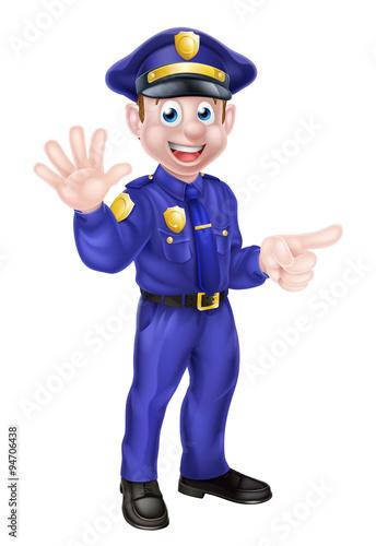 Foto op Aluminium Pixel Cartoon Policeman Pointing