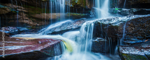 Foto op Canvas Watervallen Tropical waterfall in jungle panorama
