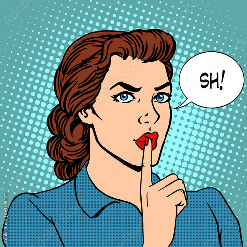 Fotografie, Obraz  Top secret silence businesswoman concept