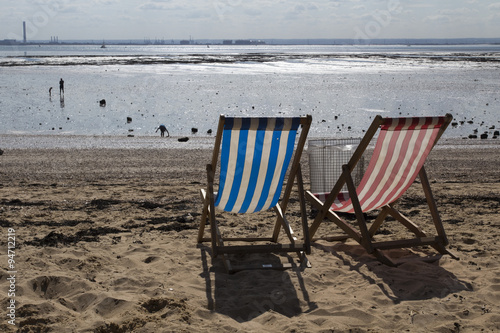 Deckchairs at Southend-on-Sea, Essex, England Canvas Print