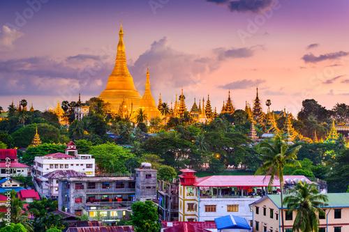 Fototapeta  Yangon, Myanmar panorama v Shwedagon Pagoda