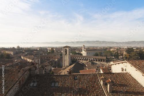 Spoed Foto op Canvas Artistiek mon. Gubbio Umbria Italia panorama