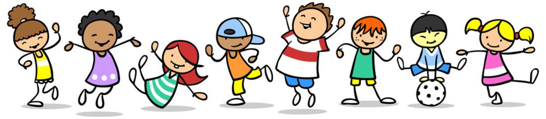 Verschiedene glückliche Kinder spielen und tanzen