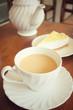 Lemon cheese cake with milk tea