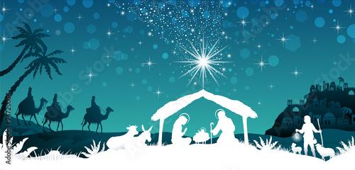 Foto White silhouette nativity scene