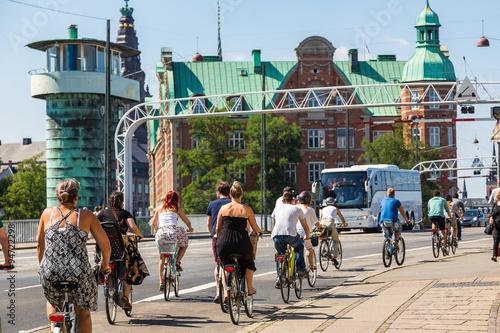 Canvas Print People biking in Copenhagen, Denmark