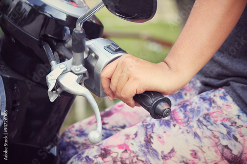 Woman with motorcycle Poster