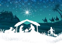 White Silhouette Nativity Scen...