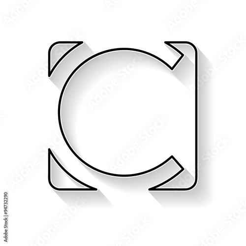 Vector initial letter C. Sign made with black line