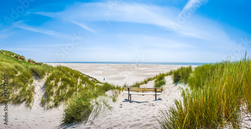 Beautiful tranquil dune landscape at long North Sea beach