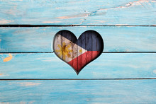 Love Philippines. Heart And Flag On A Blue Wooden Board