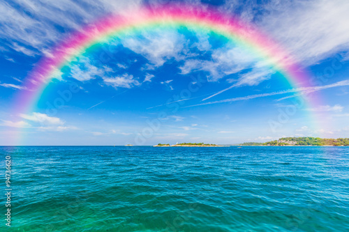 Classic Rainbow. A rainbow across the sky Canvas Print