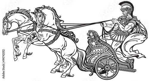 roman war chariot black and white Canvas Print