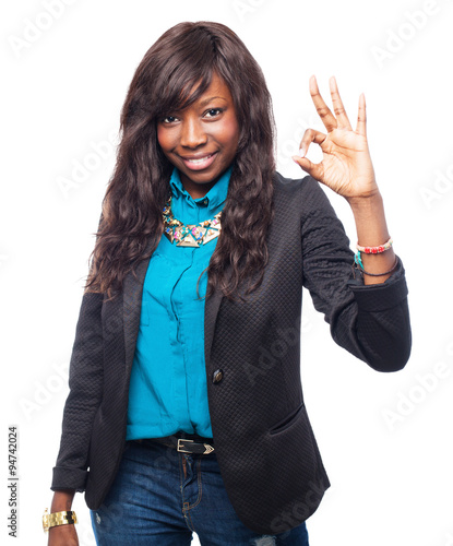 Photo cool black-woman allright sign