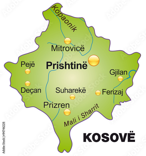 Photo  Karte vom Kosovo