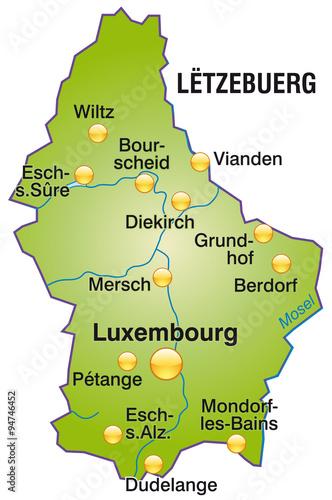 Karte von Luxemburg Canvas Print