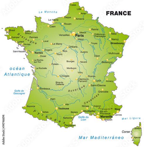 Photo  Karte von Frankreich