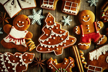 Fototapeta Christmas homemade gingerbread cookies