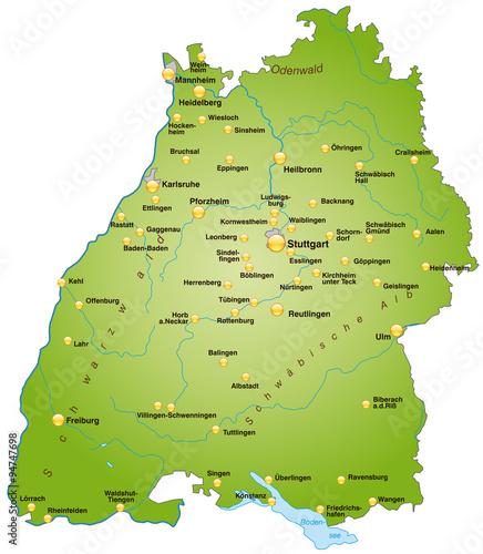 Photo  Karte von Baden-Wuerttemberg
