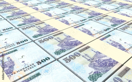 Fényképezés  Saudi Arabia rials bills stacked background