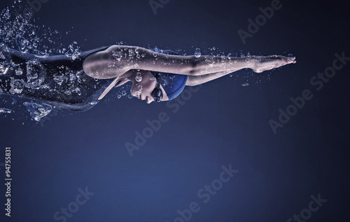 Photo Female swimmer. Concept image