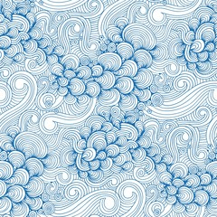 Panel Szklany Marynistyczny Ornamental Blue Waves and Shells Seamless Pattern