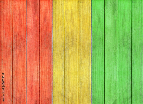 Photo  reggae colour and wooden floor texture Background