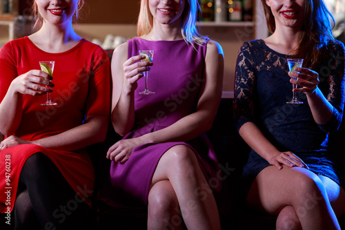 Beauty woman drinking shots Poster
