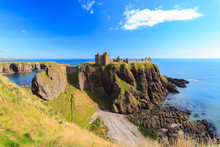 Dunnottar Castle With Blue Sky In - Stonehaven, Aberdeen, Scotland