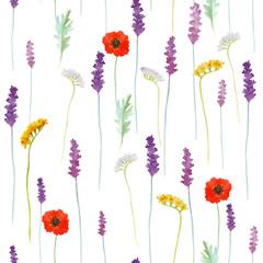 Fototapeta Do salonu kosmetycznego Watercolor flowers pattern.