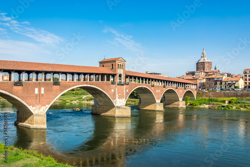 Fotografie, Obraz Bridge over Ticino river in Pavia