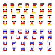 vector tricolor flag font alphabet letters
