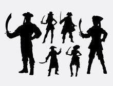Pirates Male And Female Silhouette. Good Use For Symbol, Web Icon, Logo, Game Element, Mascot, Or Any Design You Want. Easy To Use.