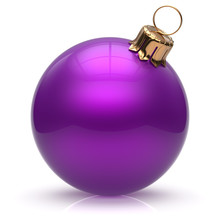 Christmas Ball New Year's Eve Bauble Wintertime Decoration Purple Sphere Hanging Adornment Classic. Traditional Winter Ornament Happy Holidays Merry Xmas Event Symbol Glossy Blank 3d Render Isolated