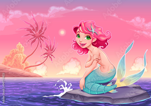 Poster Chambre d enfant Young mermaid near the shore