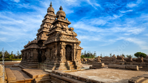 Vászonkép Shore temple in Mahabalipuram, Tamil Nadu, India